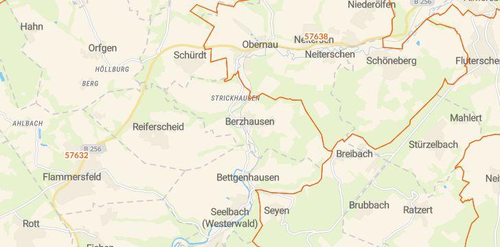 Straßenkarte mit Hausnummern Berzhausen
