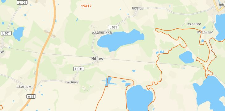 Straßenkarte mit Hausnummern Bibow