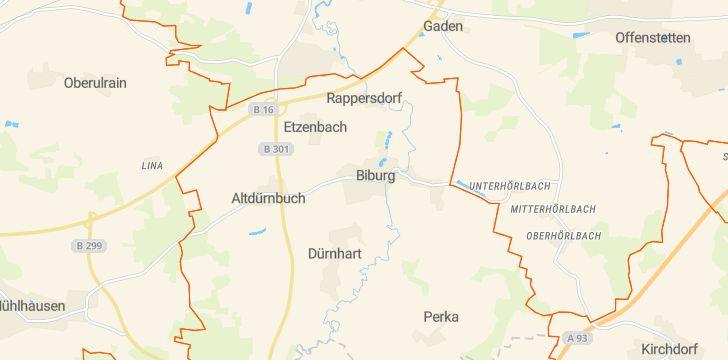 Straßenkarte mit Hausnummern Biburg