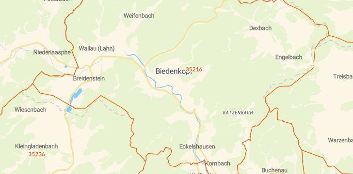 Straßenkarte mit Hausnummern Biedenkopf