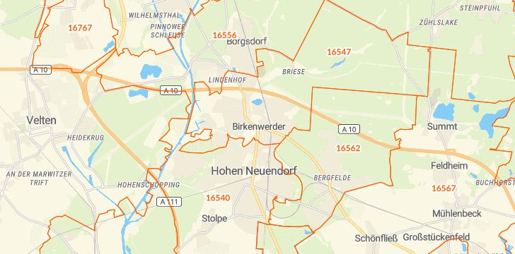 Straßenkarte mit Hausnummern Birkenwerder