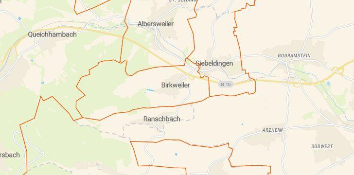 Straßenkarte mit Hausnummern Birkweiler