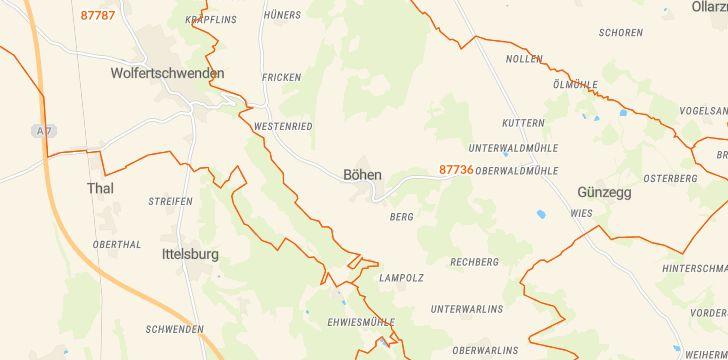 Straßenkarte mit Hausnummern Böhen