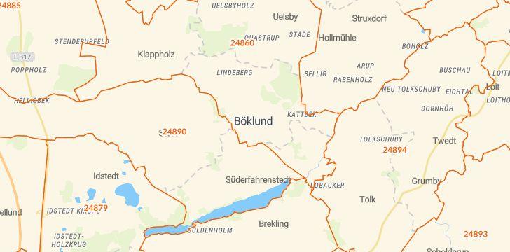 Straßenkarte mit Hausnummern Böklund