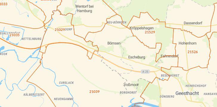 Straßenkarte mit Hausnummern Börnsen