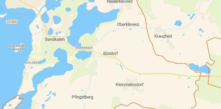 Straßenkarte mit Hausnummern Bösdorf (Holstein)