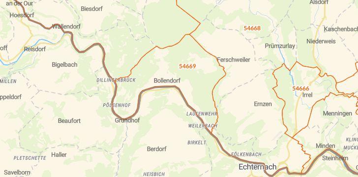 Straßenkarte mit Hausnummern Bollendorf