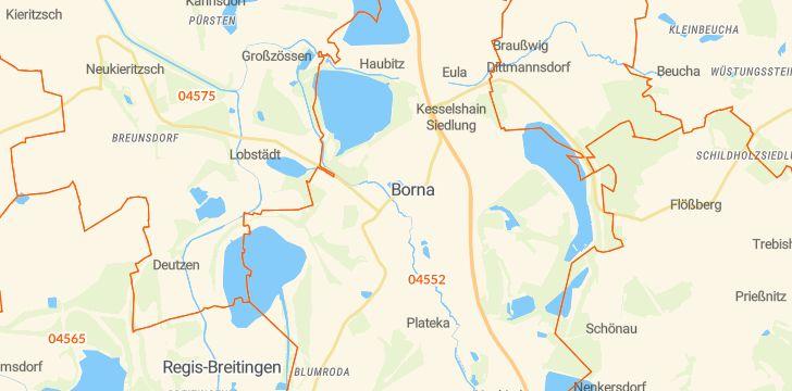 Straßenkarte mit Hausnummern Borna