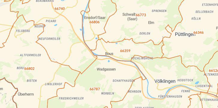 Straßenkarte mit Hausnummern Bous