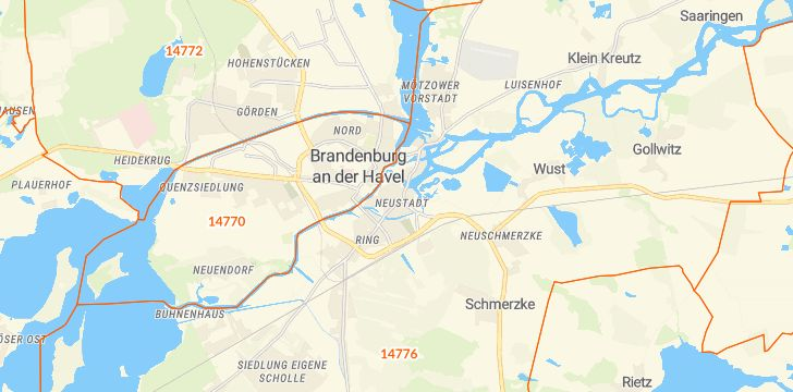 Straßenkarte mit Hausnummern Brandenburg an der Havel