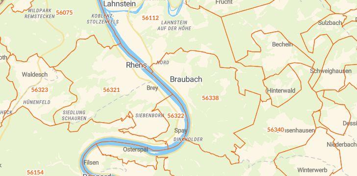 Straßenkarte mit Hausnummern Braubach