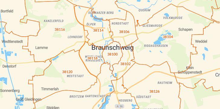 Straßenkarte mit Hausnummern Braunschweig
