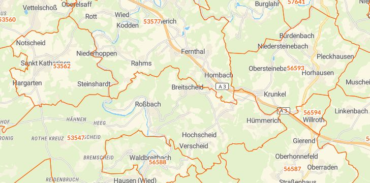 Straßenkarte mit Hausnummern Breitscheid (Westerwald)