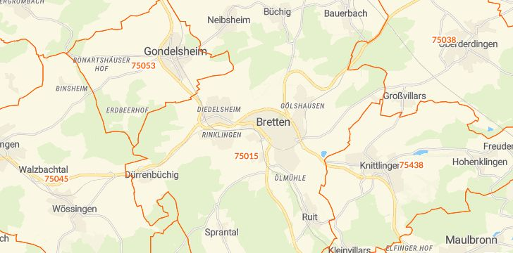 Straßenkarte mit Hausnummern Bretten (Baden)