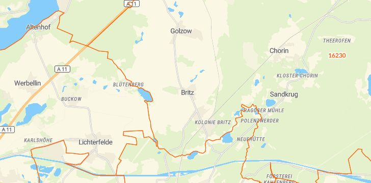 Straßenkarte mit Hausnummern Britz
