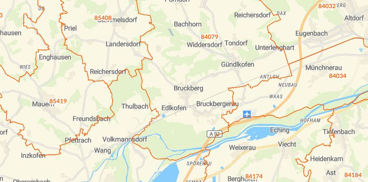 Straßenkarte mit Hausnummern Bruckberg (Niederbayern)