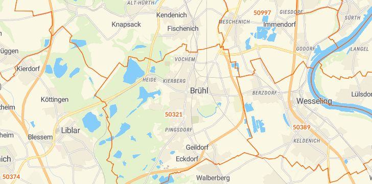 Straßenkarte mit Hausnummern Brühl (Rheinland)