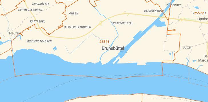 Straßenkarte mit Hausnummern Brunsbüttel