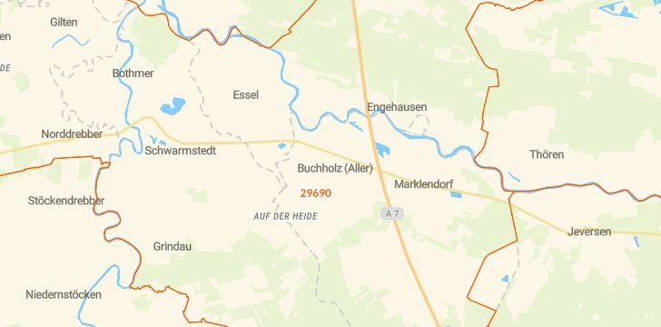 Straßenkarte mit Hausnummern Buchholz (Aller)