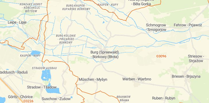 Straßenkarte mit Hausnummern Burg (Spreewald)