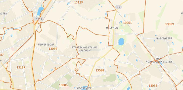 Straßenkarte mit Hausnummern Berlin-Stadtrandsiedlung Malchow