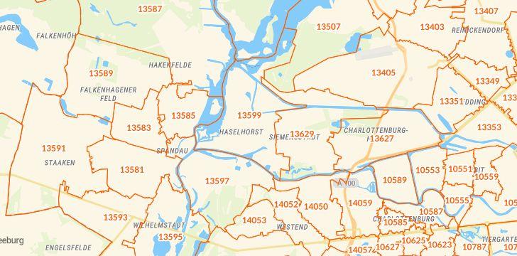 Straßenkarte mit Hausnummern Berlin-Haselhorst