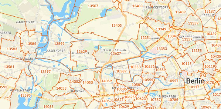 Straßenkarte mit Hausnummern Berlin-Charlottenburg-Nord