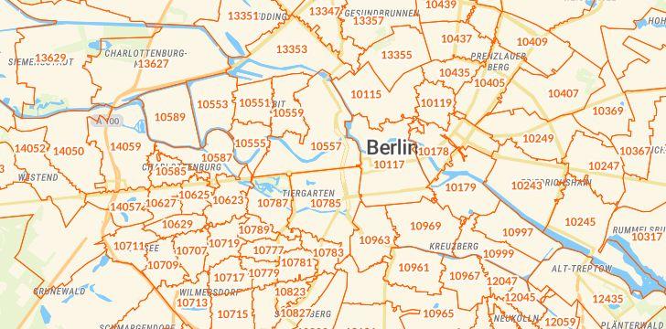Straßenkarte mit Hausnummern Berlin-Tiergarten