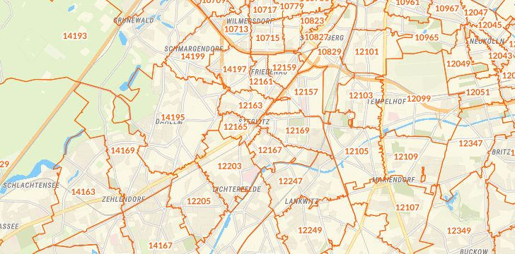 Straßenkarte mit Hausnummern Berlin-Steglitz