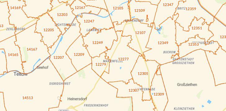 Straßenkarte mit Hausnummern Berlin-Marienfelde