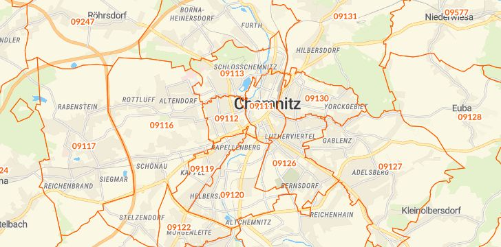 Straßenkarte mit Hausnummern Chemnitz