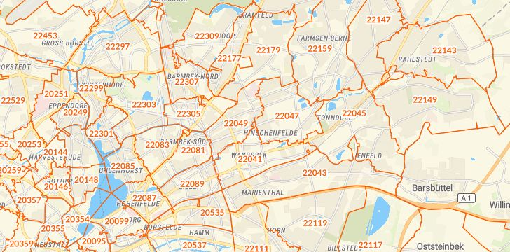 Straßenkarte mit Hausnummern Hamburg-Wandsbek