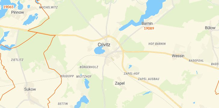 Straßenkarte mit Hausnummern Crivitz