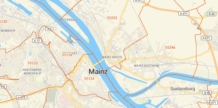 Straßenkarte mit Hausnummern Mainz-Kastel