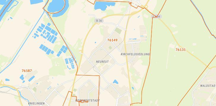 Straßenkarte mit Hausnummern Neureut