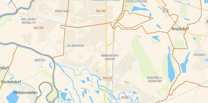 Straßenkarte mit Hausnummern Ammendorf/Beesen