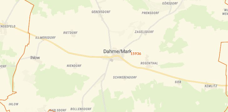 Straßenkarte mit Hausnummern Dahme/Mark