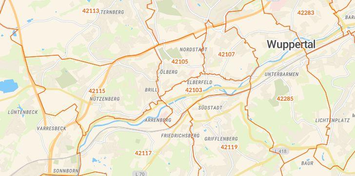Straßenkarte mit Hausnummern Elberfeld-Mitte