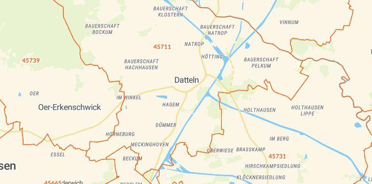Straßenkarte mit Hausnummern Datteln