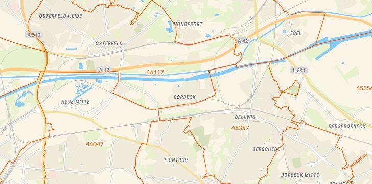 Straßenkarte mit Hausnummern Borbeck