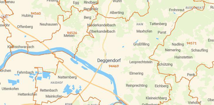Straßenkarte mit Hausnummern Deggendorf