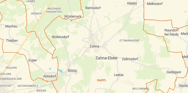 Straßenkarte mit Hausnummern Zahna-Elster