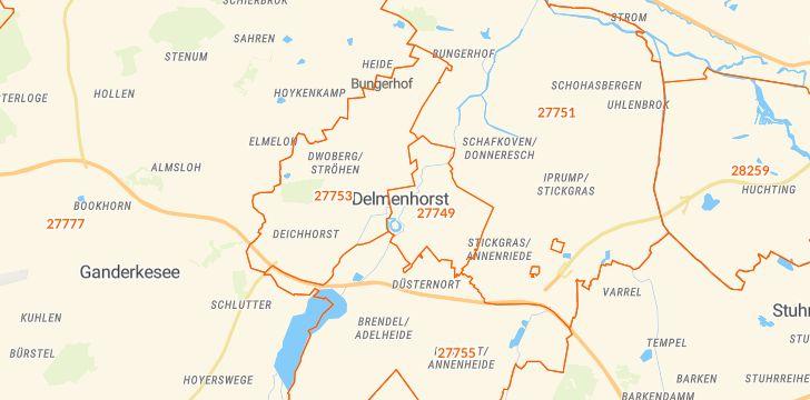 Straßenkarte mit Hausnummern Delmenhorst