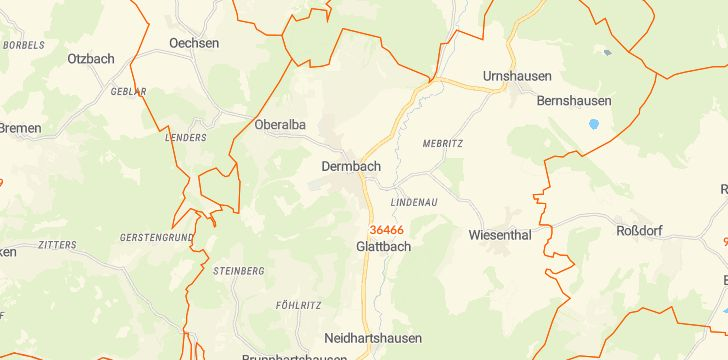 Straßenkarte mit Hausnummern Dermbach