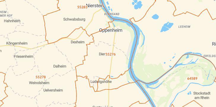 Straßenkarte mit Hausnummern Dienheim