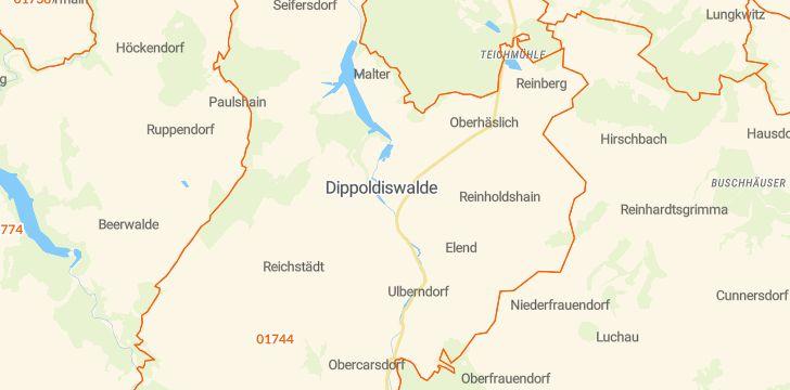 Straßenkarte mit Hausnummern Dippoldiswalde