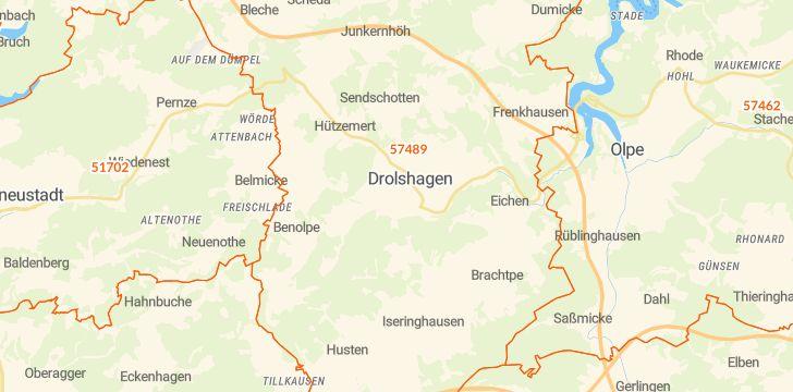 Straßenkarte mit Hausnummern Drolshagen