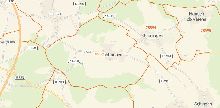Straßenkarte mit Hausnummern Durchhausen
