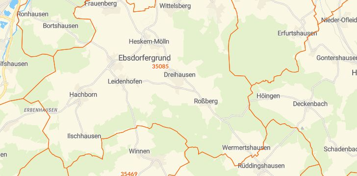 Straßenkarte mit Hausnummern Ebsdorfergrund
