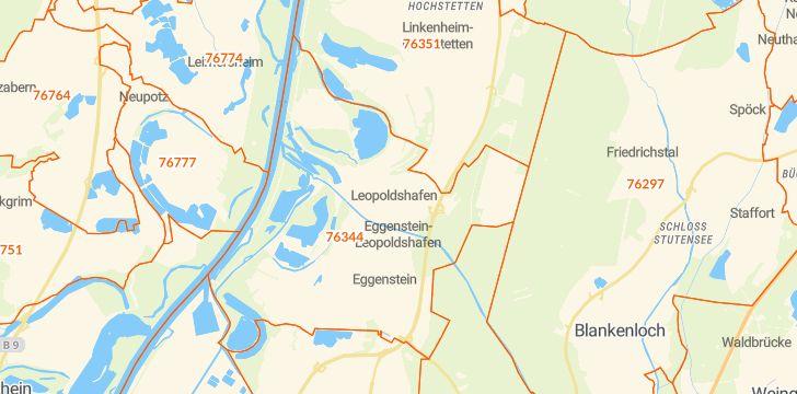 Straßenkarte mit Hausnummern Eggenstein-Leopoldshafen